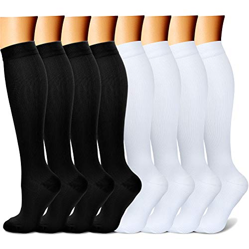 CHARMKING Compression Socks 15-20 mmHg is BEST Graduated Athletic & Medical for Men & Women Running, Travel, Nurses Pregnant - Boost Performance Blood Circulation & Recovery(Large/X-Large,Black white)