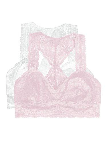 Jezebel by Felina   Lace Bralette   Wire Free   Unpadded   T-Back   2 Pack (White, Small)