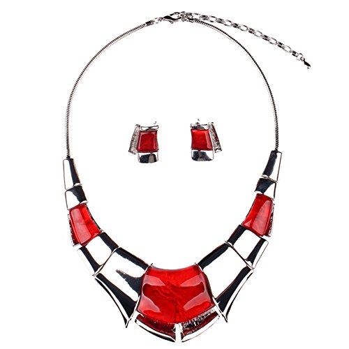 Girl Era Sexy Luxury Egyptian Style Chunk Collar Necklace & Earring Set(red) (Egyptian Girl Sexy)
