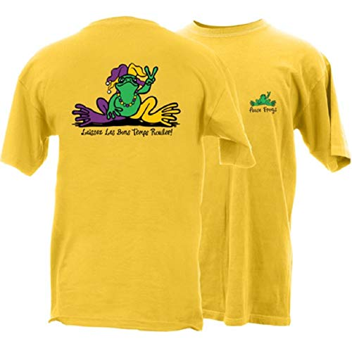 - Peace Frogs Mardi Gras Frog Adult Unisex Short Sleeve T-Shirt (Daisy, X-Large)