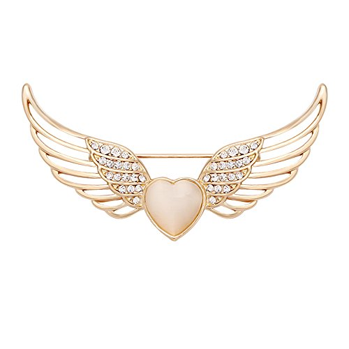 Collar Wing - CHUANGYUN Opal Heart Rhinestone Hollow Angles Wings Brooch(Gold)