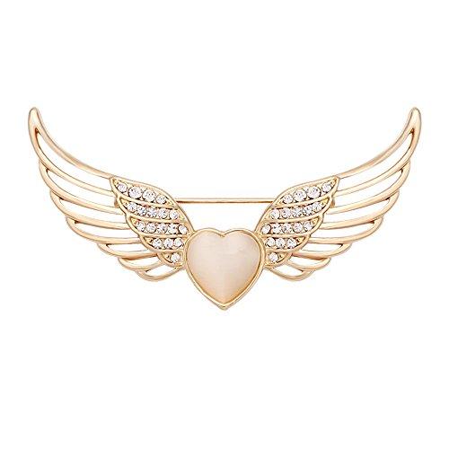 One Shape Collar - CHUANGYUN Opal Heart Rhinestone Hollow Angles Wings Brooch(Gold)