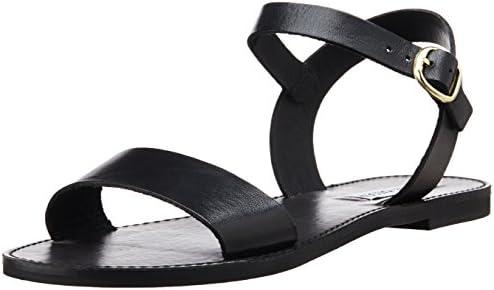 71e88947aae Steve Madden Women's Donddi Flat Sandal, Black Leather, 5 M US ...