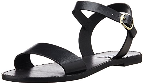 Steve Madden Women's Donddi Flat Sandal, Black Leather, 5.5 M -