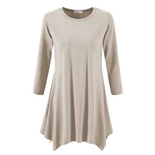 Topdress Women's Swing Tunic Tops 3/4 Sleeve Loose T-Shirt Dress Champagne M