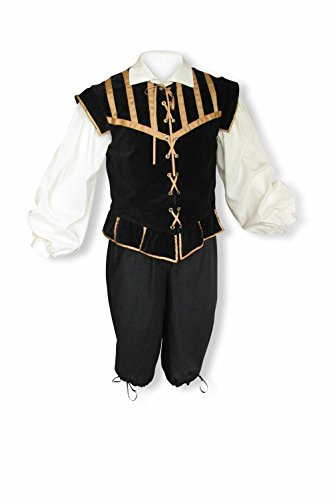 - Artemisia Designs Men's Renaissance 3 Piece Doublet Costume with Poet Shirt and Breeches Black