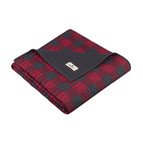 Woolrich Woolrich Check Luxury Quilted Throw Red 50x70   Plaid Premium Soft Cozy 100% Cotton For Bed, Couch or Sofa ()