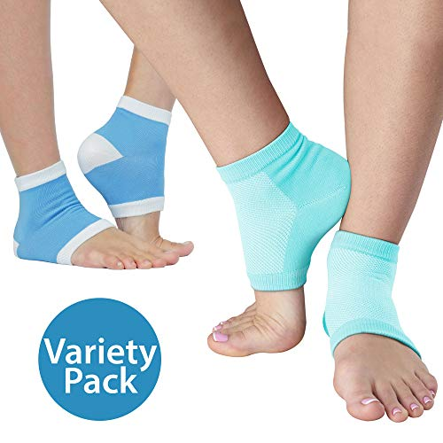 NatraCure Intensive & Vented Moisturizing Gel Heel Sleeve Combo Pack - 1 Pair Each - Day and Night Relief (608-1325-M-RET)