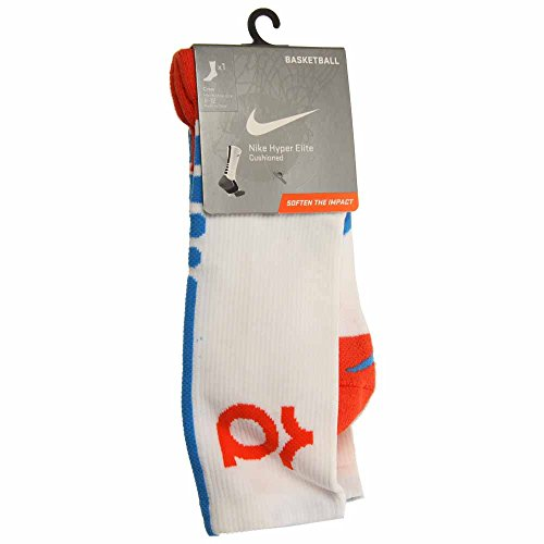 Nike Men's Hyper Elite Cushioned Crew Socks Large (shoe size 8-12) (White)