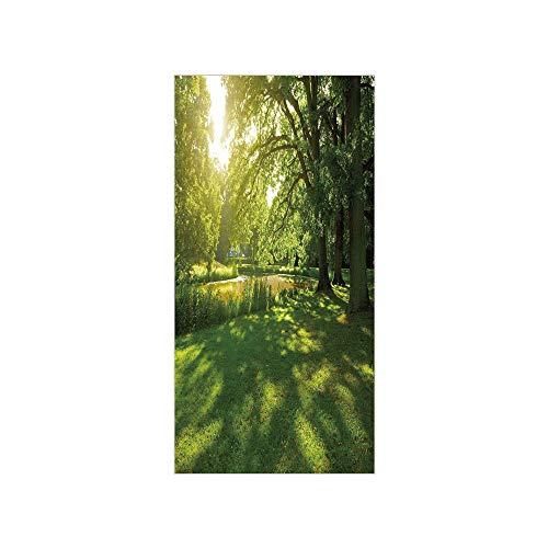 3D Decorative Film Privacy Window Film No Glue,Green,Summer Park in Hamburg Germany Trees Sunlight Forest Nature Theme Scenic Outdoors Picture,Green,for Home&Office