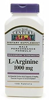 21st Century L-Arginine 1000mg, Maximum Strength 100 ea (Pack of 2)