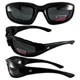 Birdz Eyewear Oriole Padded Motorcycle Glasses (Black Frame/Polarized Smoke Lens)