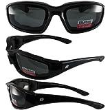 Birdz Eyewear Oriole Padded Motorcycle Glasses (Black Frame/Polarized Smoke Lens)