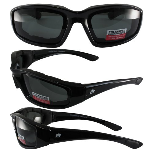 Birdz Eyewear Oriole Padded Motorcycle Glasses (Black Frame/Polarized Smoke - Stuff Eye Eyewear