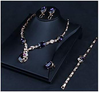 レディースネックレスジュエリーセット紫色のクリスタルネックレスイヤリングブレスレットリングセットブライダル宴会ネックレスファッシ