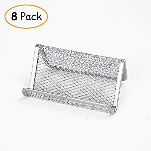 Mesh Business Card,[8 Pack] Mesh Metal Name Card Display Organizer for Desk Office Name Card with 50 Name Card Capacity (Silver, 5.9x10x5cm(2x4x2inch) (Silver, 5.9x10x5cm(2x4x2inch))