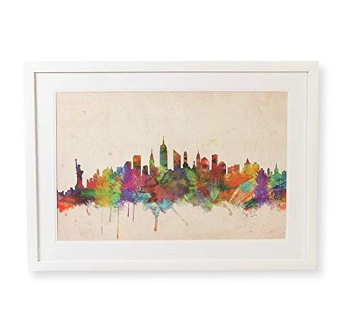 Quadro Gravura New York Skyline Etna Multicor 50X70cm