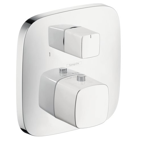 Hansgrohe 15775401 PuraVida Thermostatic Trim with Volume Control, White/Chrome - Hansgrohe Trim Volume Control