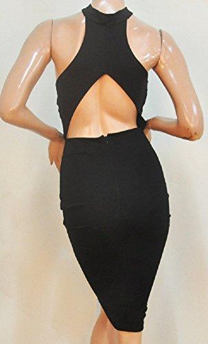 Schwarz Neckholder Trendy Damen Kleid schwarz schwarz C size One X qzOx5zP