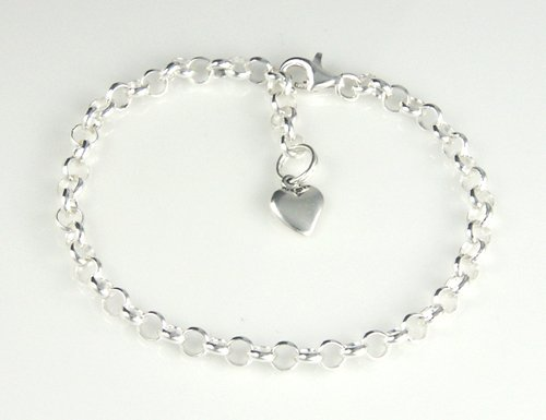 """Sterling Silver Child's Adjustable Rolo Charm Bracelet with Heart 5"""""""