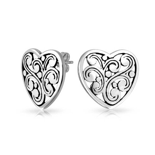Swirl Filigree Scroll Heart Shaped Stud Earrings For Women For Girlfriend 925 Sterling Silver