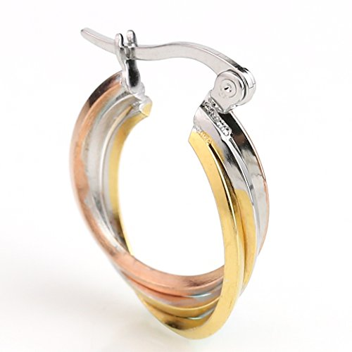 - United Elegance - Contemporary Twisted & Polished Tri-Color Silver, Gold & Rose Tone Hoop EarringsTwisted Classic)