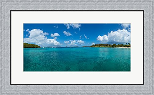 Island in the sea, Caneel Bay, St. John, US Virgin Islands by Panoramic Images Framed Art Print Wall Picture, Flat Silver Frame, 28 x 17 inches - Caneel Bay