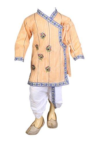 FOCIL Raksha Bandhan, Janmashtami Special Cream Peacock Feather Embroidery Kurta and Dhoti Pant Set for Kids