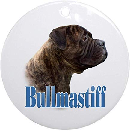 Voicpobo Bullmastiff(Brindle) Name Christmas Ornaments Round Novelty Ceramic Christmas Tree Decoration Ornament Gifts for Friends,for Family