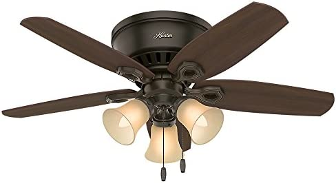 Hunter Fan Company 51091 Hunter Builder Indoor Low Profile Ceiling Fan with LED Light and Pull Chain Control, 42 , New Bronze
