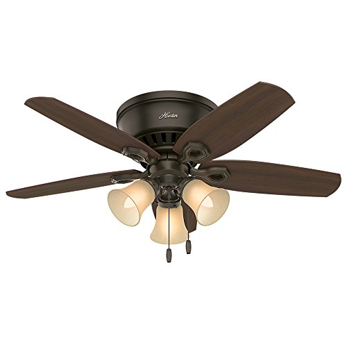Hunter 51091 42″ Builder Low Profile New Ceiling Fan with Light, Bronze