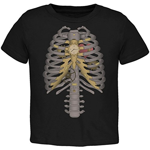 Old Glory Halloween Steampunk Mechanical Skeleton Costume Black Toddler T-Shirt - -