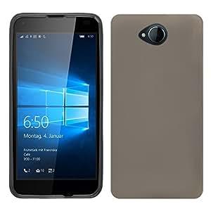 Ambaiyi 2in1 Mate TPU Suave Fudna Silicona Carcasa + Protector de Pantalla para Microsoft Lumia 650 , Gris