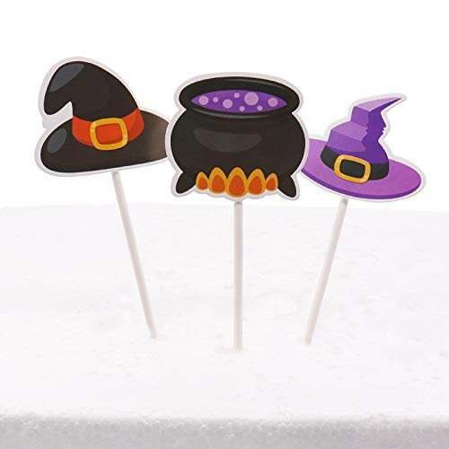 1 lot 3pcs/pack Halloween Decoration cakethai Toppers Spider black Cat skull bat ghost witch Hat for Halloween Party DIY Supplies -