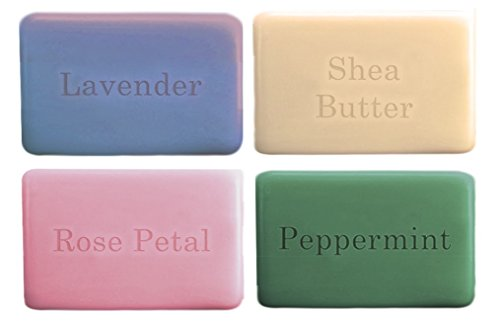 (One With Nature Naked Soap with Dead Sea Minerals, Argan Oil & Shea Butter 4 Fragrance Bundle: Lavender, Shea Butter, Rose Petal and Peppermint (4 Ounces Each))