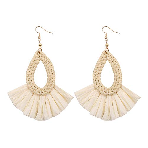 (Mysky Bohemian Rattan Handmade Raffia Geometric Round Earrings Ladies Jewelry Beige )