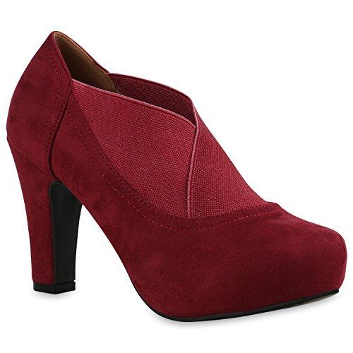 Stiefelparadies Damen Stiefeletten Ankle Boots Schnürstiefeletten Retro Style Flandell Dunkelrot Elastikband