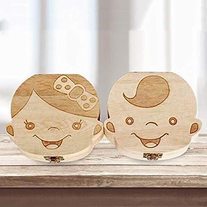 Creative Baby Teeth Box Saver Storage Box Wooden Children Teeth Holder Organize Box Milk Teeth Keepsake for Girls Boys