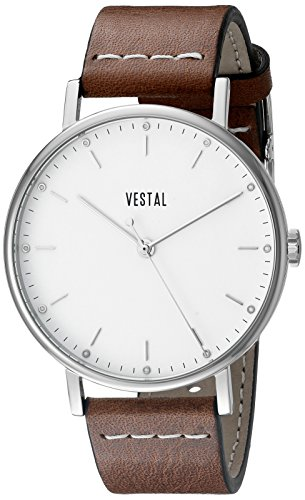 Vestal Unisex SPH3L02 The Sophisticate Stainless Steel Watch with Brown Leather Band