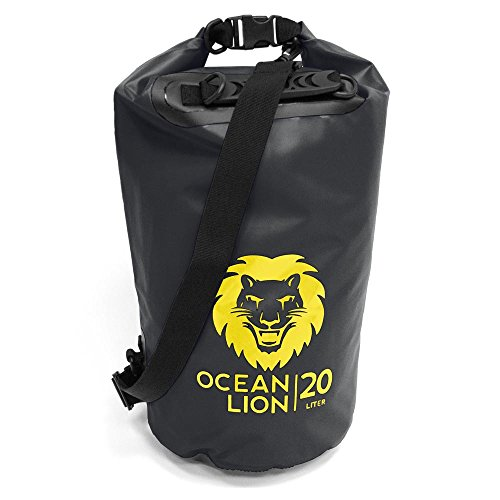 Adventure Lion Premium Waterproof Dry Bag With Shoulder Strap & Grab Handle, Roll Top Dry Sack Great For Kayaking, Swimming, Boating (Black, 20 Liter) (Large Dry Sack)