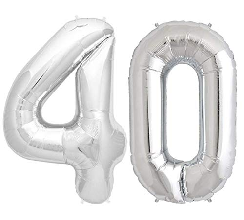 - Tellpet Silver Number 40 Balloon, 40 Inch