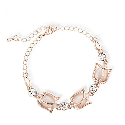 Price comparison product image The Starry Night Lobster Clasp Beige Tulip Flowers Elegant Link Bracelet For Fashion Womens Girls Winter Accessories