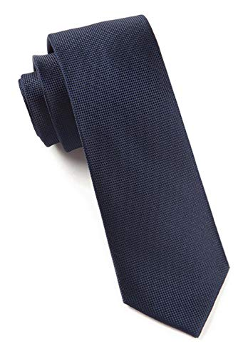 The Tie Bar 100% Woven Silk Midnight Navy Solid Textured Tie