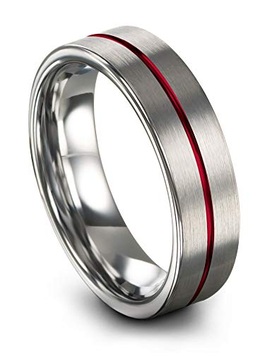 (Chroma Color Collection Tungsten Carbide Wedding Band Ring 6mm for Men Women Red Center Line Grey Interior with Flat Cut Brushed Polished Comfort Fit Anniversary Size 11.5)