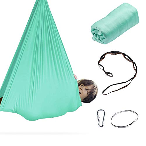 Aokitec Therapy Swing for Kids with Special Needs (Hardware Included) Snuggle Swing Cuddle Indoor Outdoor Adjustable Hammock for Children with Autism, ADHD, Aspergers, Sensory Integration(Green)