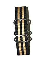 22mm Beige/Black Military Style Strap with Two S/S Rings and S/S Heavy Buckle. Great to Attach to Any Timepiece.