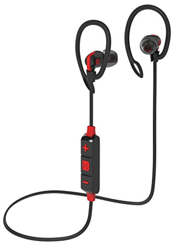 Bluetooth Wireless Water-Resistant Sport Earphones Mic Remote Sport Clips Black/Red () - iHome IB79BRC