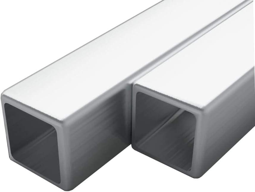 UnfadeMemory 2uds Tubo de Acero Inoxidable Cuadrados,Barras Huecas de Acero Inoxidable,Resistentes al Calor y la Corrosión,V2A,Grano 240 (Longitud 100cm, 15x15x1,5mm)