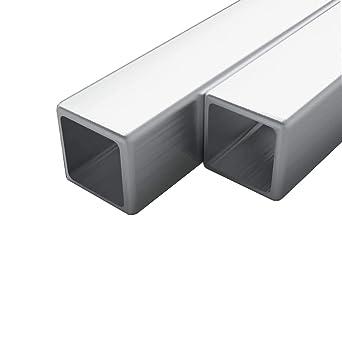 vidaXL 2x Tubo de Acero Inoxidable Cuadrado Sección Caja V2A ...
