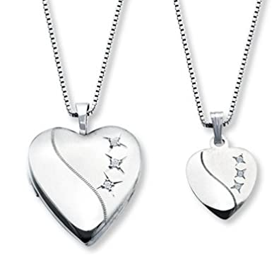 Amazoncom Jared MotherDaughter Necklaces Heart with Diamonds